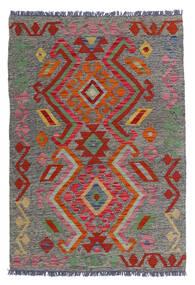 Kelim Afghan Old Style Teppich  81X118 Echter Orientalischer Handgewebter Dunkelgrau/Dunkelrot (Wolle, Afghanistan)