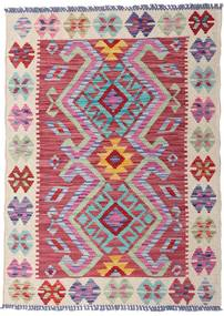 Kelim Afghan Old Style Teppich  81X112 Echter Orientalischer Handgewebter Hellgrau/Dunkelrot (Wolle, Afghanistan)