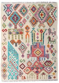 Kelim Afghan Old Style Teppich  94X129 Echter Orientalischer Handgewebter Hellgrau/Hellrosa (Wolle, Afghanistan)