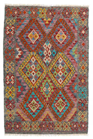 Kelim Afghan Old Style Teppich  85X129 Echter Orientalischer Handgewebter Dunkelrot/Dunkelgrau (Wolle, Afghanistan)