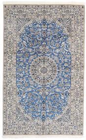 Nain 9La Teppich  156X252 Echter Orientalischer Handgeknüpfter Hellgrau/Weiß/Creme (Wolle/Seide, Persien/Iran)