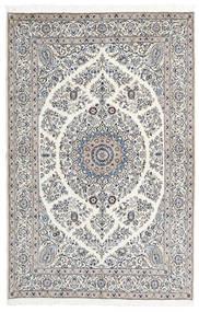 Nain 9La Teppich  165X247 Echter Orientalischer Handgeknüpfter Hellgrau/Beige (Wolle/Seide, Persien/Iran)