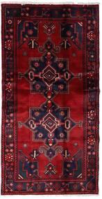 Hamadan Teppich 105X203 Echter Orientalischer Handgeknüpfter Dunkelrot/Dunkellila (Wolle, Persien/Iran)