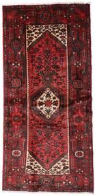 Hamadan Teppich 100X205 Echter Orientalischer Handgeknüpfter Dunkelrot (Wolle, Persien/Iran)