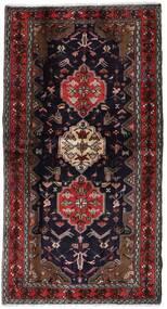 Hamadan Teppich 104X196 Echter Orientalischer Handgeknüpfter Dunkelrot/Braun (Wolle, Persien/Iran)