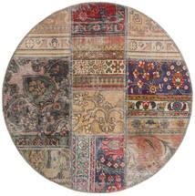 Patchwork - Persien/Iran Teppich  Ø 100 Echter Moderner Handgeknüpfter Rund Hellgrau/Hellbraun (Wolle, Persien/Iran)