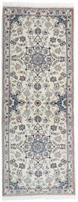 Nain 9La Teppich 79X201 Echter Orientalischer Handgeknüpfter Läufer Hellgrau/Dunkelgrau (Wolle/Seide, Persien/Iran)