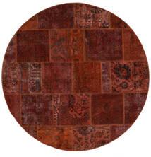 Patchwork - Persien/Iran Teppich  Ø 200 Echter Moderner Handgeknüpfter Rund Dunkelbraun/Dunkelrot (Wolle, Persien/Iran)
