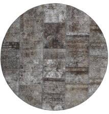 Patchwork - Persien/Iran Teppich  Ø 200 Echter Moderner Handgeknüpfter Rund Dunkelgrau/Hellgrau (Wolle, Persien/Iran)
