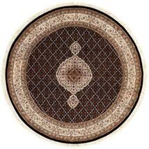 Täbriz Royal Teppich Ø 151 Echter Orientalischer Handgeknüpfter Rund Dunkelrot/Braun ( Indien)