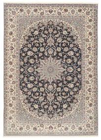 Isfahan Seidenkette Teppich  253X360 Echter Orientalischer Handgeknüpfter Hellgrau/Schwartz Großer (Wolle/Seide, Persien/Iran)