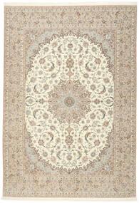 Isfahan Seidenkette Teppich  255X366 Echter Orientalischer Handgeknüpfter Beige/Hellgrau Großer (Wolle/Seide, Persien/Iran)