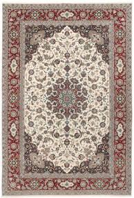 Isfahan Seidenkette Teppich  250X360 Echter Orientalischer Handgeknüpfter Hellgrau/Beige Großer (Wolle/Seide, Persien/Iran)