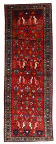 Hamadan Teppich  108X304 Echter Orientalischer Handgeknüpfter Läufer Dunkelrot/Rost/Rot/Schwartz (Wolle, Persien/Iran)