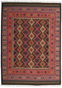 Kelim Marmaris Teppich  250X350 Echter Moderner Handgewebter Dunkelrot/Schwartz Großer (Wolle, Indien)