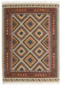 Kelim Bodrum Teppich  140X200 Echter Moderner Handgewebter Dunkelgrau/Dunkelbraun (Wolle, Indien)