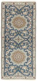 Nain 9La Teppich  81X191 Echter Orientalischer Handgeknüpfter Läufer Hellgrau/Beige (Wolle/Seide, Persien/Iran)