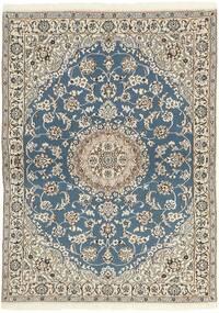 Nain 9La Teppich  118X171 Echter Orientalischer Handgeknüpfter Hellgrau/Beige (Wolle/Seide, Persien/Iran)