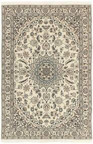 Nain 9La Teppich  114X178 Echter Orientalischer Handgeknüpfter Hellgrau/Beige (Wolle/Seide, Persien/Iran)