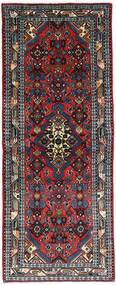 Hamadan Teppich  79X206 Echter Orientalischer Handgeknüpfter Läufer Schwartz/Dunkelrot (Wolle, Persien/Iran)