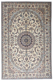 Nain 9La Teppich  199X312 Echter Orientalischer Handgeknüpfter Hellgrau/Beige (Wolle/Seide, Persien/Iran)