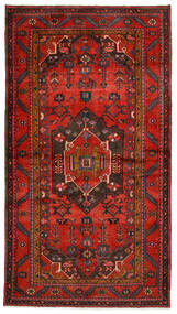 Hamadan Teppich 140X254 Echter Orientalischer Handgeknüpfter Dunkelrot/Dunkelbraun/Rost/Rot (Wolle, Persien/Iran)