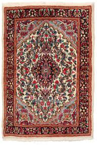 Kerman Teppich  97X141 Echter Orientalischer Handgeknüpfter Schwartz/Dunkelrot (Wolle, Persien/Iran)