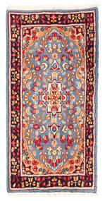 Kerman Teppich 59X119 Echter Orientalischer Handgeknüpfter Hellblau/Dunkelrot (Wolle, Persien/Iran)