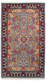 Kerman Teppich  90X155 Echter Orientalischer Handgeknüpfter Dunkelrot/Hellgrau (Wolle, Persien/Iran)
