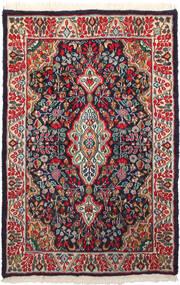 Kerman Teppich  93X143 Echter Orientalischer Handgeknüpfter Dunkelblau/Dunkelrot (Wolle, Persien/Iran)