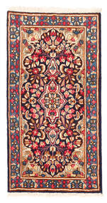 Kerman Teppich 58X112 Echter Orientalischer Handgeknüpfter Dunkelrot/Hellrosa (Wolle, Persien/Iran)