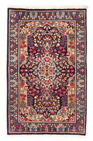 Kerman Teppich  92X147 Echter Orientalischer Handgeknüpfter Dunkelrot/Schwartz (Wolle, Persien/Iran)