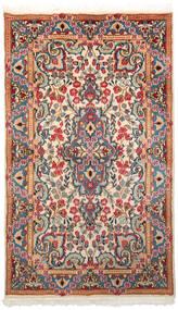 Kerman Teppich  85X145 Echter Orientalischer Handgeknüpfter Beige/Dunkelrot (Wolle, Persien/Iran)