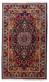 Kerman Teppich  91X154 Echter Orientalischer Handgeknüpfter Schwartz/Dunkellila (Wolle, Persien/Iran)