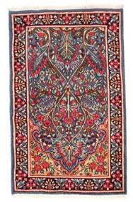 Kerman Teppich  91X150 Echter Orientalischer Handgeknüpfter Dunkelrot/Dunkellila (Wolle, Persien/Iran)
