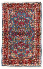 Kerman Teppich  92X149 Echter Orientalischer Handgeknüpfter Dunkelrot/Blau (Wolle, Persien/Iran)