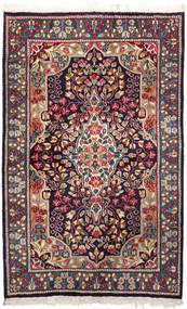 Kerman Teppich  92X147 Echter Orientalischer Handgeknüpfter Dunkellila/Dunkelrot (Wolle, Persien/Iran)