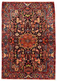 Nahavand Old Teppich 160X230 Echter Orientalischer Handgeknüpfter Dunkelrot/Rost/Rot (Wolle, Persien/Iran)