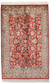 Kaschmir Reine Seide Teppich 65X99 Echter Orientalischer Handgeknüpfter Dunkelrot/Hellgrau (Seide, Indien)