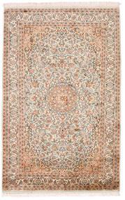 Kaschmir Reine Seide Teppich 98X152 Echter Orientalischer Handgeknüpfter Beige/Dunkelbraun (Seide, Indien)