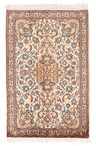 Kaschmir Reine Seide Teppich 64X100 Echter Orientalischer Handgeknüpfter Hellrosa/Hellbraun (Seide, Indien)