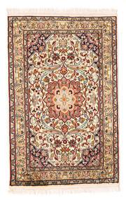 Kaschmir Reine Seide Teppich 58X90 Echter Orientalischer Handgeknüpfter Beige/Dunkelbraun (Seide, Indien)