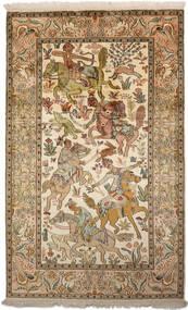 Kaschmir Reine Seide Teppich 94X152 Echter Orientalischer Handgeknüpfter Braun/Dunkel Beige (Seide, Indien)
