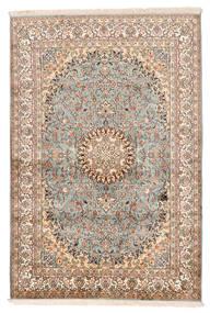 Kaschmir Reine Seide Teppich 127X188 Echter Orientalischer Handgeknüpfter Beige/Dunkelbraun (Seide, Indien)