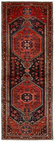 Hamadan Teppich  80X217 Echter Orientalischer Handgeknüpfter Läufer Schwartz/Dunkelrot (Wolle, Persien/Iran)