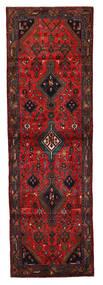 Hamadan Teppich 92X294 Echter Orientalischer Handgeknüpfter Läufer Dunkelrot/Schwartz (Wolle, Persien/Iran)