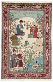 Sarough Teppich 143X213 Echter Orientalischer Handgeknüpfter Beige/Dunkelbraun (Wolle/Seide, Persien/Iran)