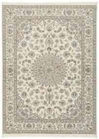 Nain 9La Teppich  175X247 Echter Orientalischer Handgeknüpfter Hellgrau/Beige (Wolle/Seide, Persien/Iran)