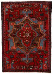 Nahavand Teppich 68X100 Echter Orientalischer Handgeknüpfter Dunkelrot/Dunkelbraun (Wolle, Persien/Iran)