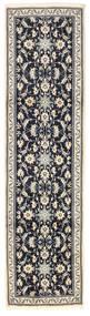 Nain Teppich 80X302 Echter Orientalischer Handgeknüpfter Läufer Hellgrau/Schwartz (Wolle, Persien/Iran)